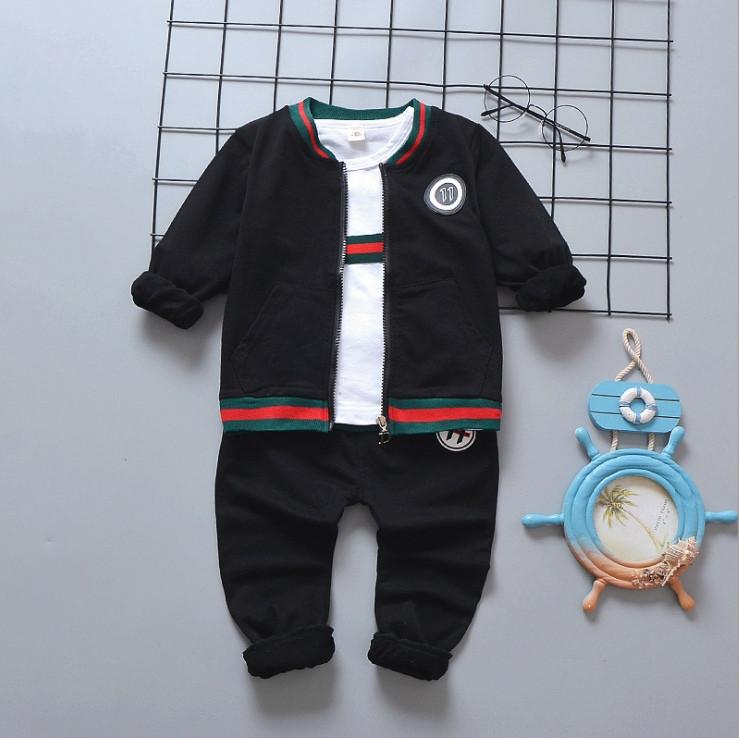 Стильный костюм тройка на мальчика весна-осень Gucci черный 1-4 года