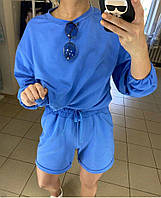 Женский трикотажный костюм с шортами и свободным свитшотом 72mko745, фото 1