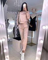 Женский брючный замшевый костюм с кофтой и штанами на манжетах 20mko766, фото 1