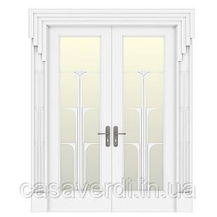 Межкомнатная дверь Casa Verdi Conte 3 массив ольхи белая со стеклом