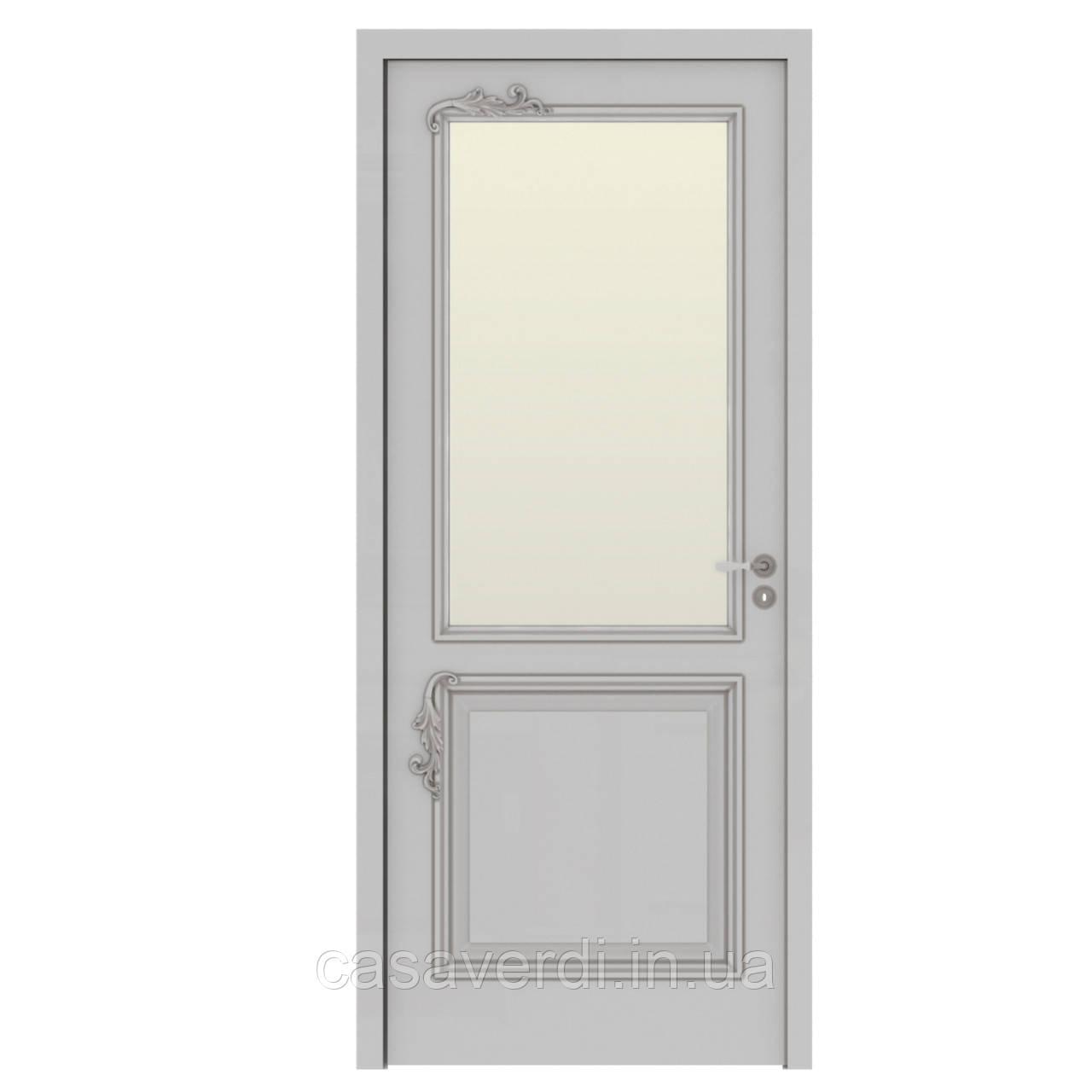 Межкомнатная дверь Casa Verdi  Elegante 4 из массива ольхи белая со стеклом
