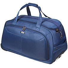 Дорожня сумка середня FILIPPINI три колеса висувна ручка 62х33х38 синя ксТ0045синср, фото 2