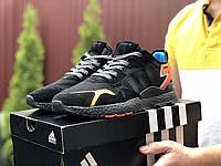 Мужские кроссовки Adidas Nite Jogger Boost 3M (черно-оранжевые) 9428