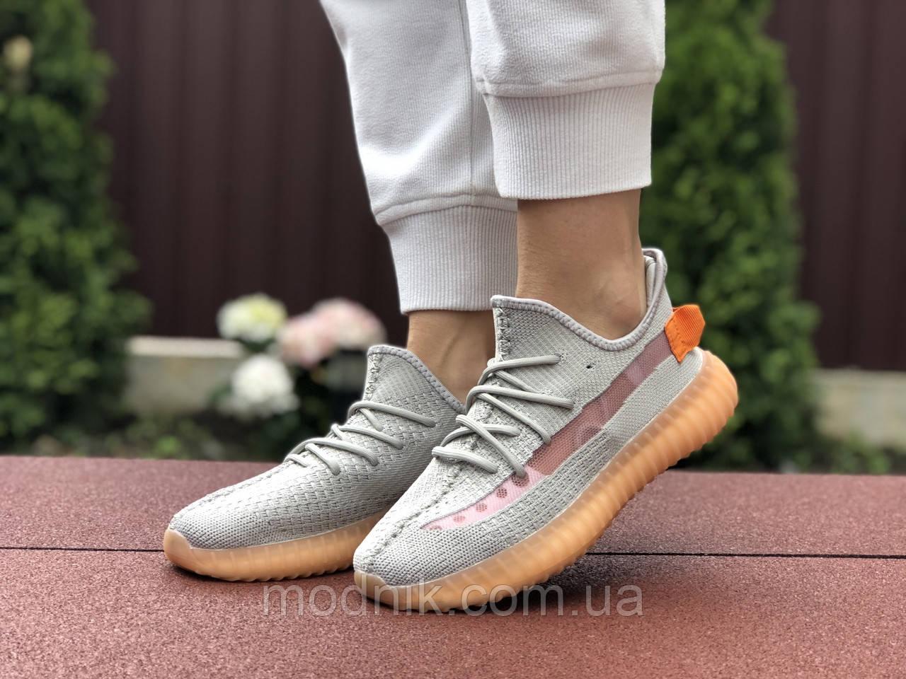 Женские кроссовки Adidas Yeezy Boost 350 (серо-персиковые) - 9423