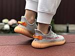 Женские кроссовки Adidas Yeezy Boost 350 (серо-персиковые) - 9423, фото 2