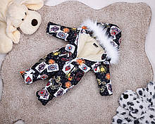 Детский зимний комбинезон на овчине черный карты