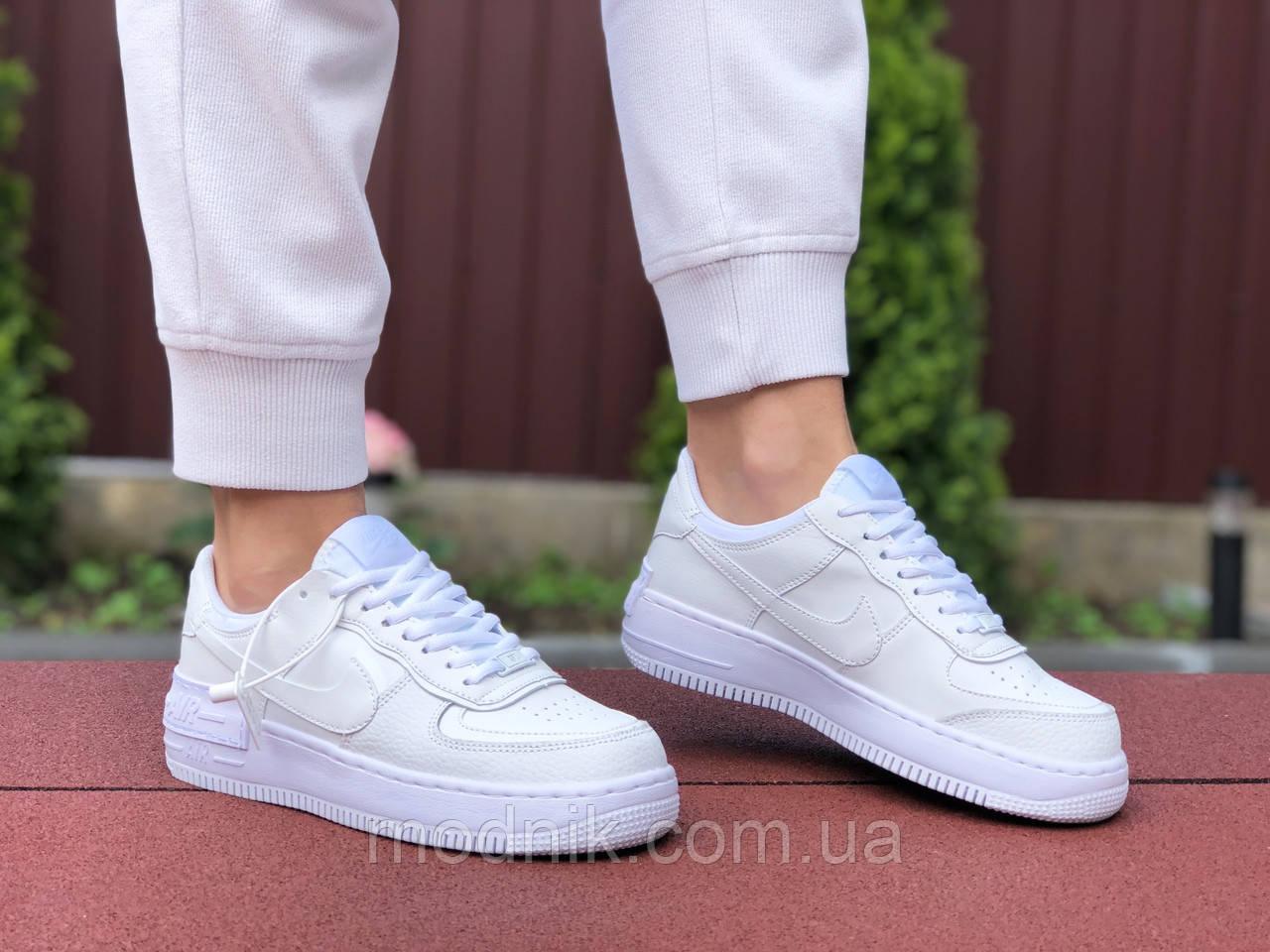 Женские кроссовки Nike Air Force 1 Shadow (белые) 9475