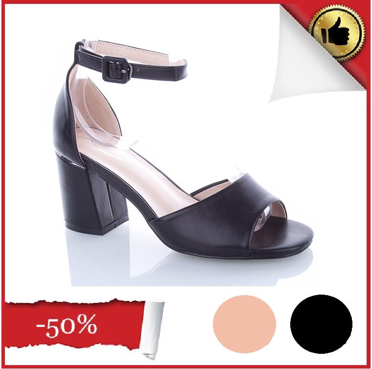 Босоножки черные на устойчивом каблуке Еко-Кожа открытый носок с закрытой пяткой 36,40 Размер