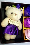 Мыло из роз с мишкой  Подарок для девушки, мыло ручной работы, фото 5