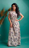 Летнее длинное платье с принтом, фото 1