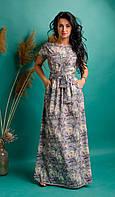 Длинное платье с цветочным принтом светло-серое, фото 1