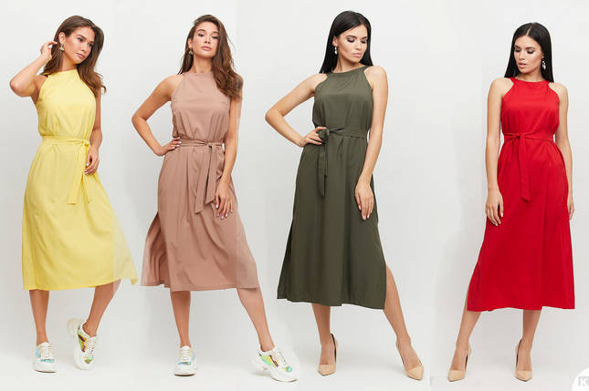 Платье длины ниже колена прямого кроя с открытыми плечами /разные цвета, S-L, KR-Бритни/, фото 2