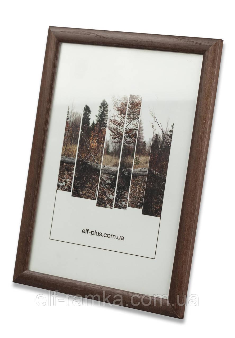 Рамка 30х30 из дерева - Сосна коричневая тёмная 2,2 см - со стеклом