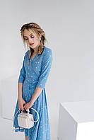 Літня сукня на запах ретро міді Горох S М L XL голуба | воздушное платье-халат миди голубое 42 44 46 48