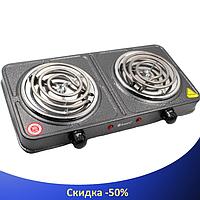 Электроплита DOMOTEC MS-5802 двойная - настольная электрическая плита на две конфорки (2000 Вт)