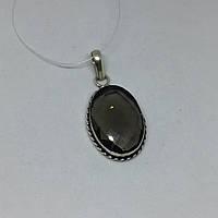 Раух-топаз кулон овальный с раух-топазом дымчатый кварц в серебре Индия