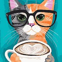 Кот в Очках картина по номерам на холсте - Идейка коты, животные 40х40 см