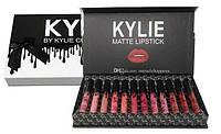 Набор стойких жидких матовых помад разных оттенков для макияжа губ Kylie Black 12 штук | Кайли (Реплика), фото 1