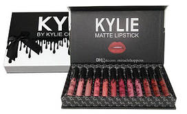 Набор стойких жидких матовых помад разных оттенков для макияжа губ Kylie Black 12 штук | Кайли (Реплика)