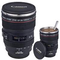 Термокружка с крышкой и поилкой в виде объектива фотоаппарата Canon EF 24 105 | Стильная чашка термос, фото 1