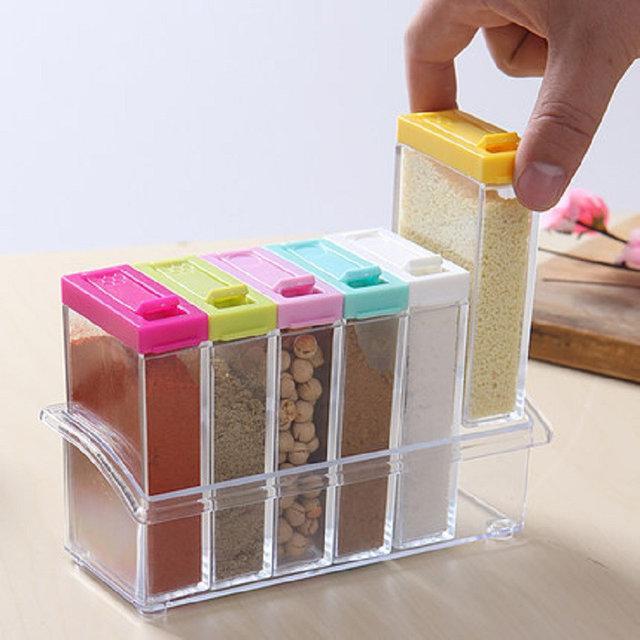 Кухонный набор емкостей для специй с подставкой 6шт Seasoning six-piec set