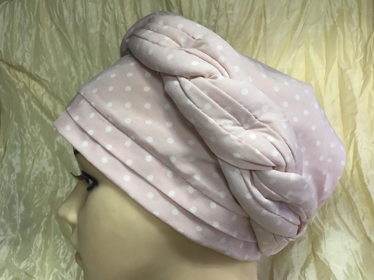 Річна бандана-шапка-косинка-тюрбан в горох колір пудра і сіра