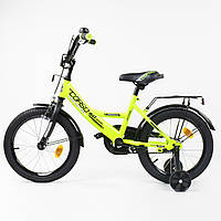 + Подарок Детский велосипед 16 дюймов Салатовый, Ручной Тормоз