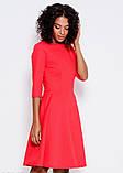 Красное платье из фактурной ткани с рукавами до локтей и расклешенной юбкой S, фото 2