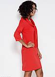 Красное приталенное платье с оригинальным воротником-шалью S, фото 2
