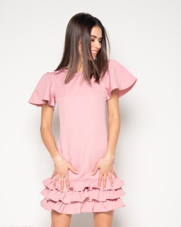 Розовое платье с рюшами и рукавами-бабочками M