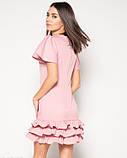 Розовое платье с рюшами и рукавами-бабочками M, фото 3
