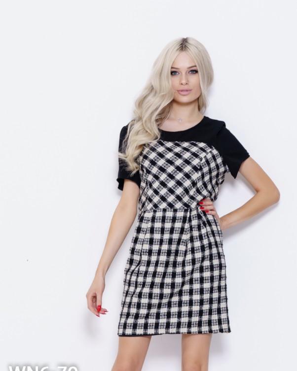Черное комбинированное клетчатое платье с люрексом M