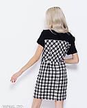 Черное комбинированное клетчатое платье с люрексом M, фото 3
