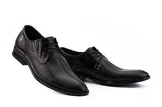 Мужские туфли кожаные весна/осень черные Slat 17104