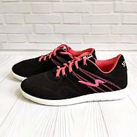 Женские кроссовки черно-розовые