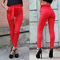 Летние брюки женские с высокой талией и поясом, фото 1