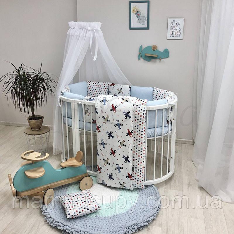 Комплект постільної білизни в овальну ліжечко Baby Design Аероплан ТМ «Маленька Соня»