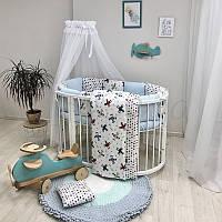 Комплект постельного белья в овальную кроватку Baby Design Аэроплан ТМ «Маленькая Соня»