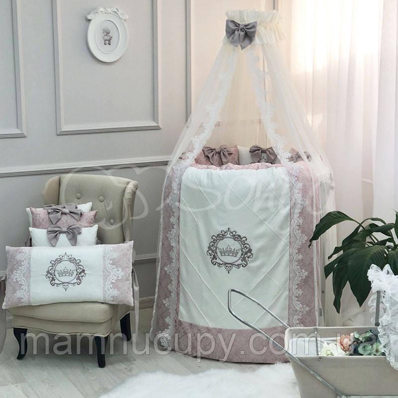 Комплект постельного белья в овальную кроватку Elegance пыльная роза ТМ «Маленькая Соня»