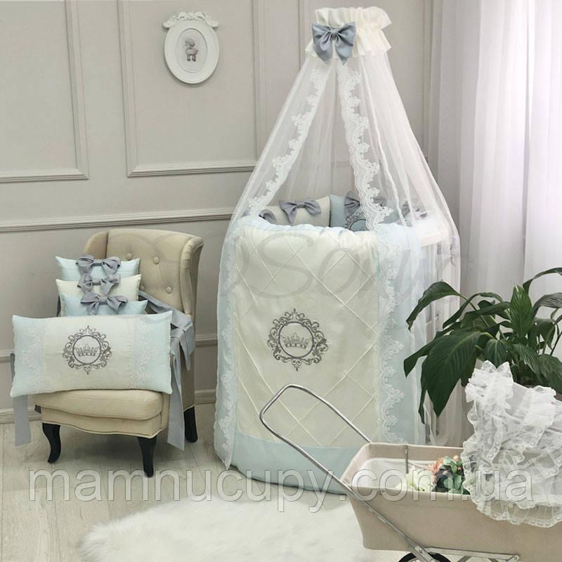 Комплект постельного белья в овальную кроватку Elegance голубой ТМ «Маленькая Соня»
