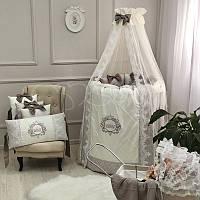 Комплект постельного белья в овальную кроватку Elegance какао ТМ «Маленькая Соня»