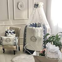 Комплект постельного белья в овальную кроватку Elegance синий ТМ «Маленькая Соня»