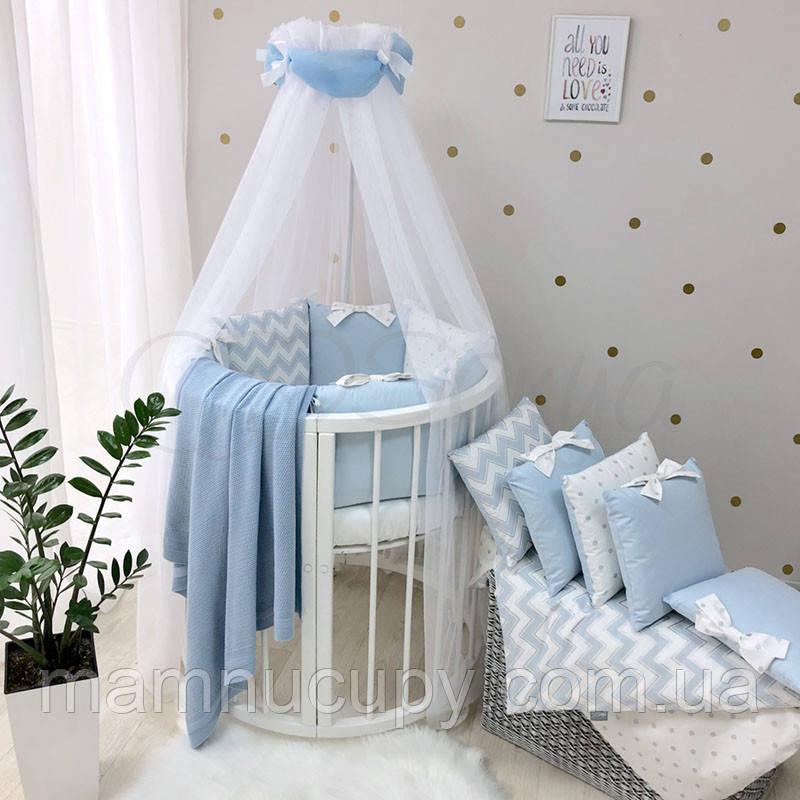 Комплект постельного белья в овальную кроватку Shine голубой зигзаг ТМ «Маленькая Соня»