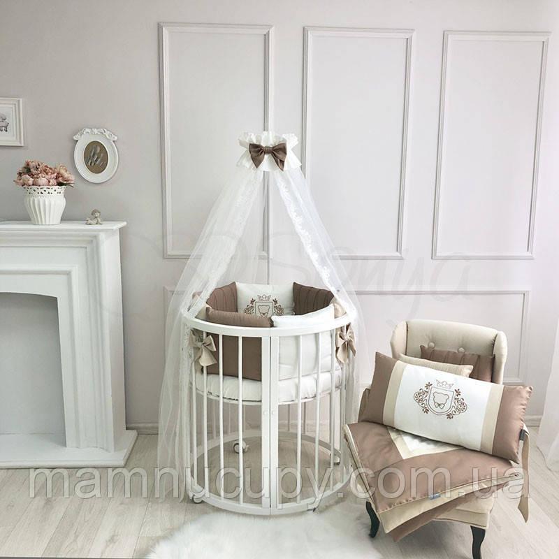 Комплект постельного белья в овальную кроватку Royal шоколад ТМ «Маленькая Соня»