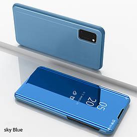 Чехол книжка для Samsung Galaxy A41 A415 боковой с зеркальной крышкой, Голубой