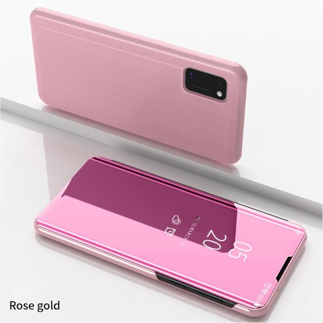 Samsung Galaxy a41 чехол книжка с зеркальной поверхностью золотисто-розовый