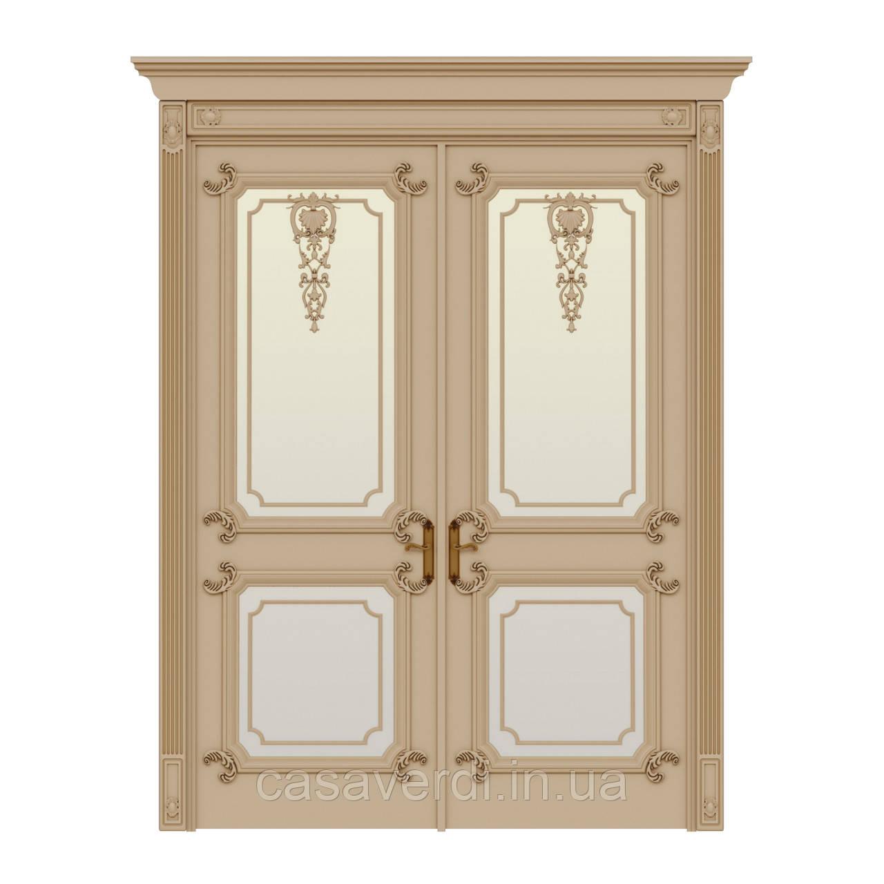 Межкомнатная дверь Casa Verdi Palazzo 10 из массива ольхи слоновая кость со стеклом