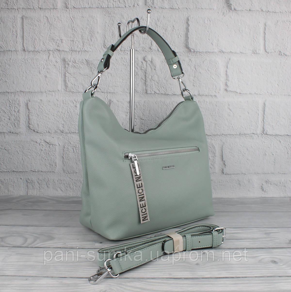 Мягкая повседневная сумка хобо Velina Fabbiano 572244 светло-зеленая (мята), расцветки