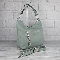 Мягкая повседневная сумка хобо Velina Fabbiano 572244 светло-зеленая (мята), расцветки, фото 1