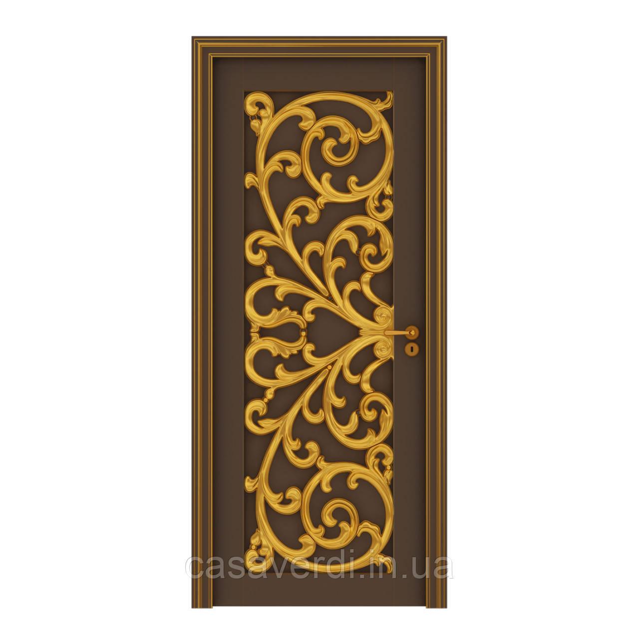 Межкомнатная дверь Casa Verdi Verona 1 из массива ольхи коричневая с золотым декором